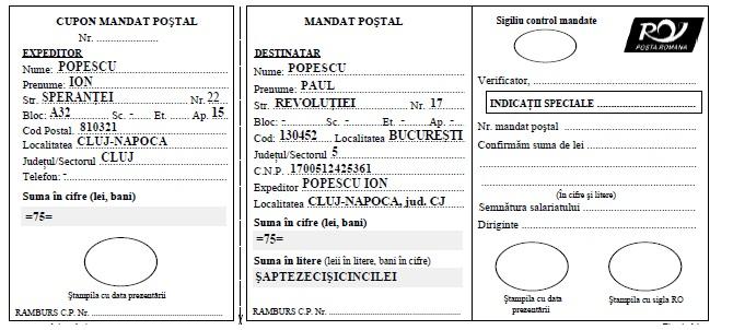 Model completare Mandat Postal